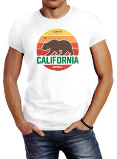 Herren T-Shirt California Retro Kalifornien Bär Summer Slim Fit Baumwolle Neverless®