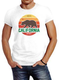 Herren T-Shirt California Retro Kalifornien Bär Summer Slim Fit Baumwolle Neverless®