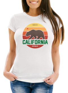 Damen T-Shirt California Retro Kalifornien Bär Summer Slim Fit tailliert Baumwolle Neverless®