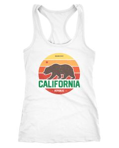 Damen Tank-Top California Retro Kalifornien Bär Summer Racerback Slim Fit tailliert Baumwolle Neverless®
