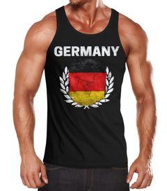 EM WM Tanktop Fanshirt Herren Fußball Deutschland Flagge Vintage MoonWorks®