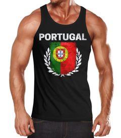 EM WM Tanktop Fanshirt Herren Fußball Portugal Flagge Vintage MoonWorks®