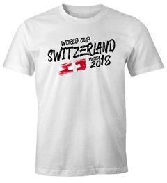 Herren T-Shirt Schweiz Switzerland Schwiiz Schwiz Fan-Shirt WM 2018 Fußball Weltmeisterschaft Moonworks®