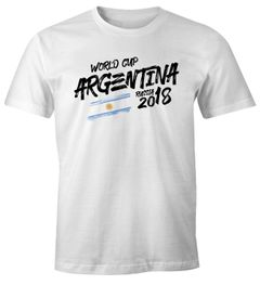 Herren T-Shirt Fan-Shirt Argentinien Argentina Fan-Shirt WM 2018 Fußball Weltmeisterschaft Moonworks®