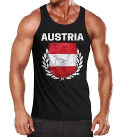 Herren Tanktop - Fußball EM 2016 Austria Österreich Flagge Vintage - Tank Top MoonWorks®