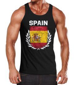 EM WM Tanktop Fanshirt Herren Fußball Spanien Flagge Spain Vintage MoonWorks®