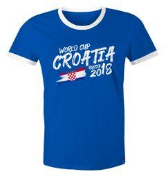 Herren WM-Shirt Kroatien Croatia Hrvatska WM Fußball Weltmeisterschaft 2018 World Cup Vintage Moonworks®
