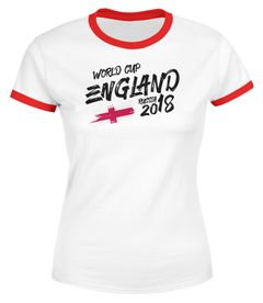 Damen T-Shirt England Fan-Shirt WM-Shirt Fußball Weltmeisterschaft 2018 World Cup Moonworks®