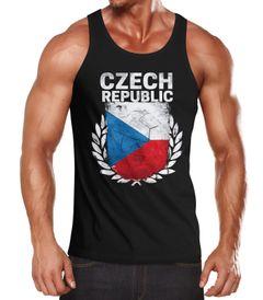 EM WM Tanktop Fanshirt Herren Fußball Tschechien Flagge Vintage MoonWorks®