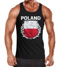 EM WM Tanktop Fanshirt Herren Fußball Polen Flagge Poland Vintage MoonWorks®
