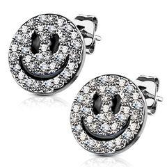 1 Paar Damen Ohrstecker Ohrringe Edelstahl Emoji Zirkonia Kristalle Autiga®