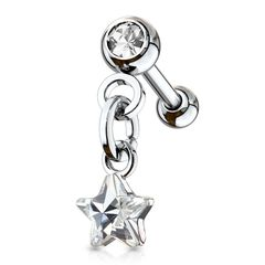 Tragus Ohr Piercing Stecker Helix Cartilage Barbell Stern Star Zirkonia Kristall Autiga®