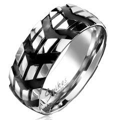 cooler Edelstahl Ring Pfeil Winkel Reifen-Profil Herren Damen Autiga®