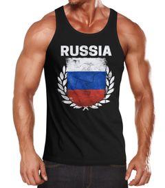 Herren Tanktop - Fußball EM 2016 Russia Russland Flagge Vintage - Tank Top MoonWorks®