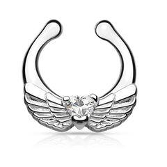 Nasenpiercing Nasenring Fake Piercing Septum Helix Flügel Herz Clip On Hanger