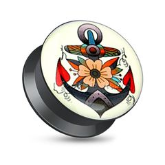 Acryl Plug Tunnel Ohr Piercing Anker Anchor Rockabilly Retro Screw Fit