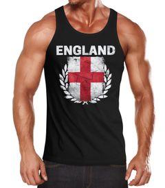 EM WM Tanktop Fanshirt Herren Fußball England Flagge Vintage MoonWorks®