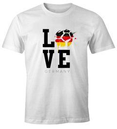 Herren WM-Shirt Deutschland Fan-Shirt WM 20018 Germany Love Fußball Baumwolle Moonworks®