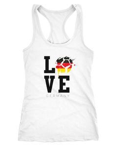 Damen Tanktop Deutschland Germany WM Love Fußball Racerback Moonworks®