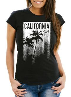 Damen T-Shirt California Surf Palmen Slim Fit Neverless®