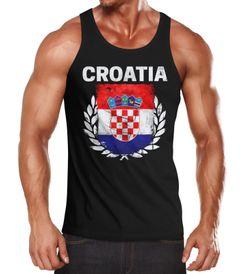EM WM Tanktop Fanshirt Herren Fußball Kroatien Flagge Croatia Vintage MoonWorks®