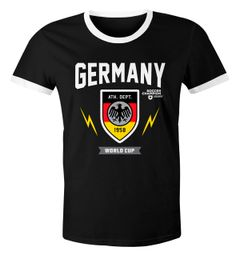 Herren WM-Shirt 2018 Deutschland Flagge Wappen Germany Retro Trikot-Look