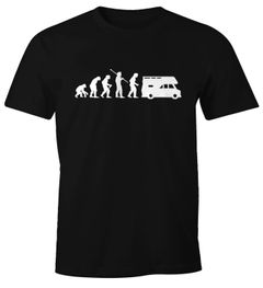 Herren T-Shirt Camper Camping-Bus Evolution Fun-Shirt Moonworks®