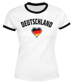 Damen WM-Shirt Deutschland Herz 2018 Retro Trikot-Look Moonworks®