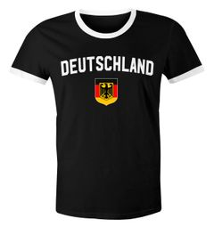 Klassisches Herren WM-Shirt Deutschland Flagge Retro Trikot-Look Fan-Shirt