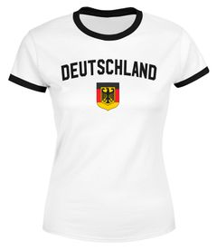 Klassisches Damen WM-Shirt Deutschland Flagge Retro Trikot-Look Fan-Shirt