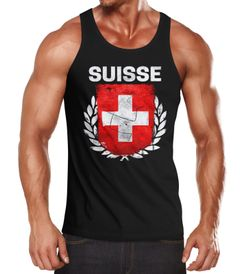 EM WM Tanktop Fanshirt Herren Fußball Schweiz Flagge Suisse Vintage MoonWorks®