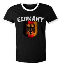 Cooles Herren Fußball WM 2018 T-Shirt Deutschland Flaggen Design Vintage Retro Trikot-Look