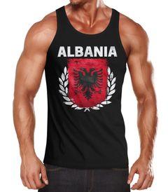 Herren Tanktop - Fußball EM 2016 Albania Albanien Flagge Vintage - Tank Top MoonWorks®