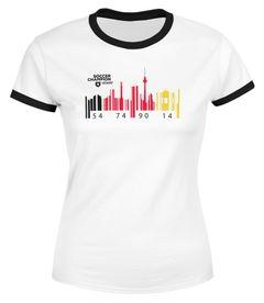 Damen WM-Shirt Deutschland WM Flagge Barcode Skyline Berlin WM 2018 Moonworks®