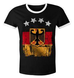 Cooles Herren WM-Shirt Deutschland Flagge Vintage 2018 Fußball Sterne