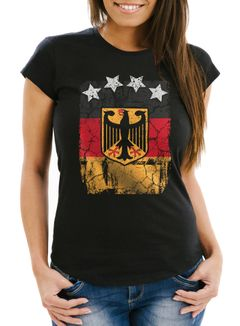 Cooles Damen WM-Shirt Deutschland Flagge Vintage Fußball Sterne