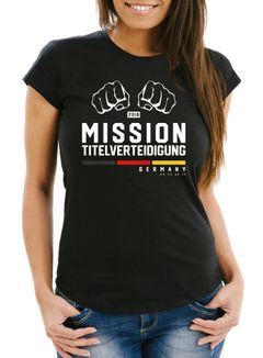 Damen WM-Shirt Mission Titelverteidigung Fäuste Fußball Weltmeisterschaft 2018 Fan-Shirt Deutschland Moonworks®