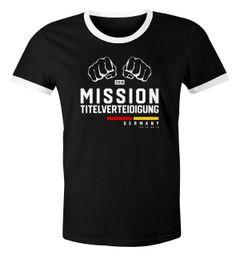 Herren WM-Shirt Mission Titelverteidigung Fäuste Fußball Weltmeisterschaft 2018 Fan-Shirt Deutschland