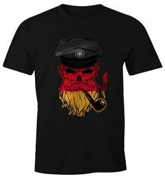 Herren T-Shirt WM Captain Skull Totenkopf Germany Deutschland Edition Moonworks®