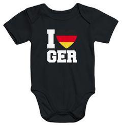 Baby Body I Love Germany Deutschland-Herz Fußball WM-Shirt Fanshirt Deutschland-Body Bio-Baumwolle Moonworks®