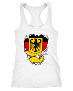 Damen Tanktop Rip Off Tear of Superstar WM Deutschland Flagge Moonworks®
