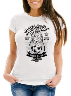 Damen T-Shirt WM-Shirt WM 2018 Fußball Weltmeisterschaft Russland Matryoshka Matrjoschka Tattoos Moonworks®