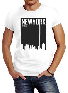 Herren T-Shirt New York Skyline Aufdruck Slim Fit Neverless®