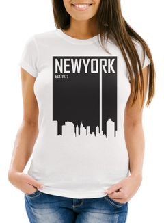 Damen T-Shirt New York Skyline Aufdruck Slim Fit Neverless®