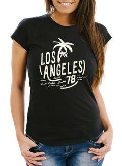 Damen T-Shirt Los Angeles Beach Palmen Surf Print Slim Fit Neverless®