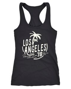 Damen Tank-Top Shirt Los Angeles Beach Surf Aufdruck Racerback Neverless®