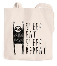 Jutebeutel Sleep Eat Sleep Repeat Faultier Baumwollbeutel Stoffbeutel Autiga®