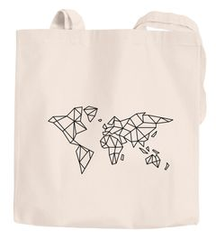 Jutebeutel Weltkarte World Map Low Polygon Baumwolltasche Stoffbeutel Einkaufstasche Autiga®