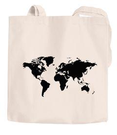 Baumwolltasche Weltkarte World Map Stoffbeutel Jutebeutel Baumwollbeutel Autiga®
