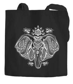 Baumwolltasche Elefant Zentangle Mandala Jutebeutel Tragetasche Einkaufstasche Autiga®